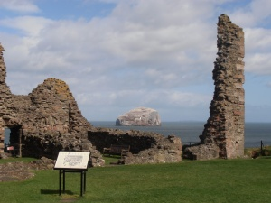 Looking across the ruins to the north-east, towards the Bass Rock, from the bailey