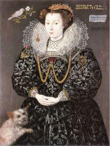 Fourteen-year-old Elizabeth Brydges wears an open-fronted cartwheel ruff in 1489