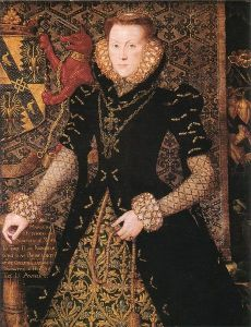 Margaret Audley, Duchess of Norfolk, wears a fairly modest ruff in 1562