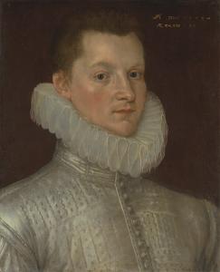 John Smythe wears a plain linen ruff in 1579