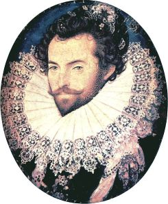 Sir Walter Raleigh wears a linen cartwheel ruff with lace edging in 1585